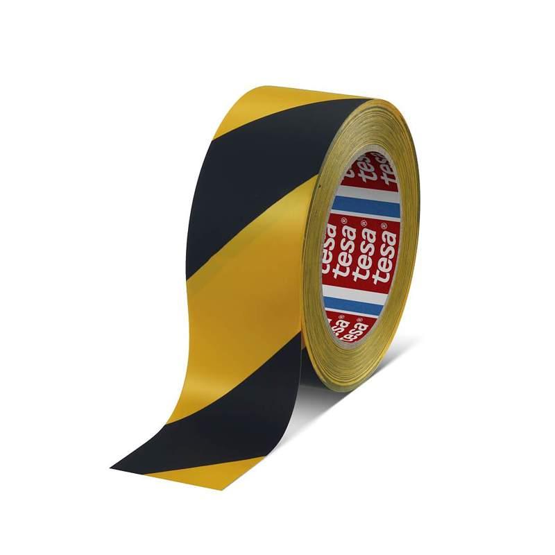 Fita Adesiva Premium para Marcação de Chão preto/amarelo 33mX50mm